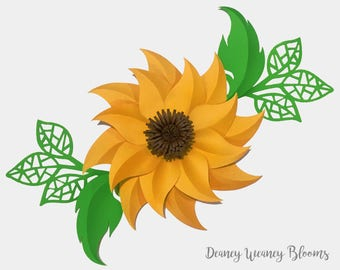 SVG and PDF Digital Sunny Sunflower Paper Flower template. Original Design, base and center included, large back drop flower Cricut svg file