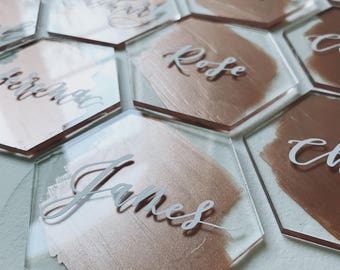Acrylic Hexagon Place Cards // Vinyl Lettering // Painted Background