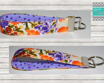 Floral/Yellow/Orange/Purpole Keychain, Key Fob, Wristlet Keychain, Wristlet Key Fob