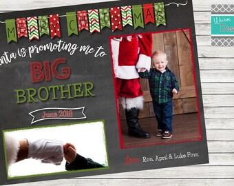 """Christmas Card """"Promoted to Big Brother/Big Sister"""" Single Sided Horizontal- Printable"""