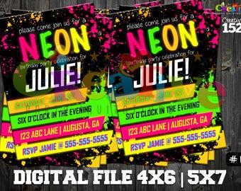 Neon Party Invitation | Neon Birthday Party Invitation | Custom Party Invitation | Glow Party | Printable Invitation | Glow Birthday Party