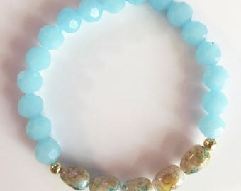 Blue and Speckled Beaded Bracelet