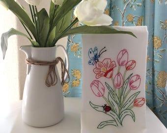 Tulip kitchen towel, Handmade Embroidered  flowers,Floral towel, Decorative tea towel,housewarming gift, Hostesses gift, kitchen decor