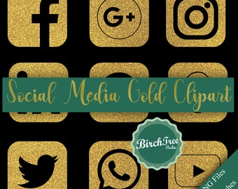 Social Media Icons Gold Glitter Clipart - Gold Glitter Symbols - Glitter Social Media Clipart - Transparent Background - Instant Download