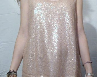 MESH AND GLITTER COLOR BEIGE TANK TOP