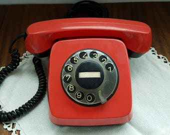 Red phone Red rotary telephone Soviet vintage phone Bulgarian phone Table phone Retro telephone Red retro home decor Working rotary phone