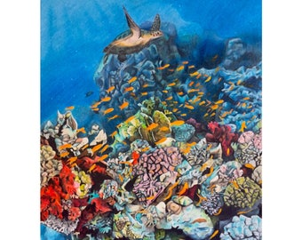 A4 Coral Reef Hand Drawing