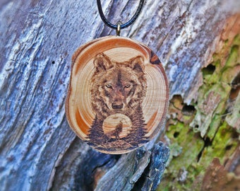 "Soul slices ""wolf"" wood necklace, vintage * Ethno * hippie * MUST have * statement *"