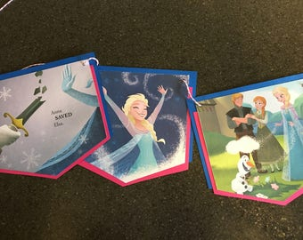 Disney Frozen Bunting Upcycled from Little Golden Books - 9 Spearhead Style Double Matted Favorite Storybook Pages with no Words