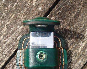 Handmade Green belt pouch for zippo or star style lighter