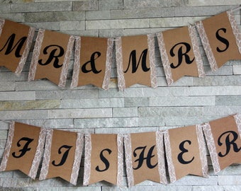 Personalised wedding bunting Mr and Mrs custom banner