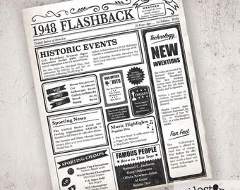 70 Birthday Sign, Fun Facts 1948, 70th Birthday Sign, What Happened 1948