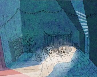 Bedroom Ghost - Illustration Art Print, Digital Print, Drawing, Fantasy Art, Sci Fi