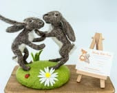 Needle-felted boxing hare...