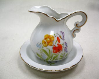 Miniature Pitcher With Bowl Floral Pattern Gold Trim