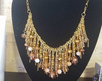 Beautiful gold plated chain necklace - one of a kind/ Massive necklace with chain and glass chrystals/ Woman necklace