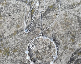 wire wrapped fresh water pearl necklace