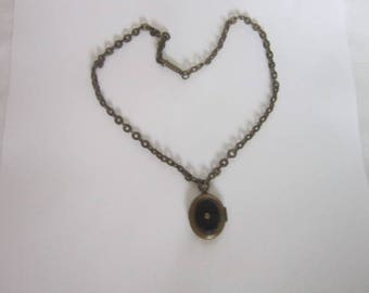 Antique Victorian Mourning Photo Keepsake Locket & Chain Necklace with Jet Black Glass