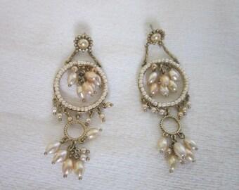 Large Chandelier Faux Pearl Dangle Pierced Earrings High Fashion
