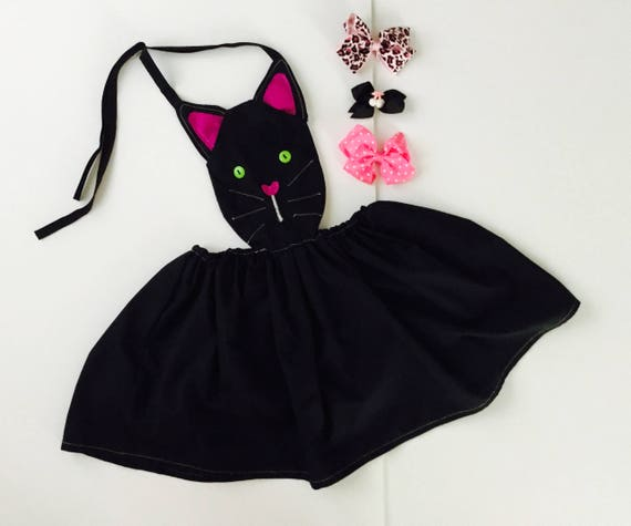 Black Cat Pinafore Costume For Girls