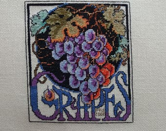 Grapes Crate Label - completed cross-stich