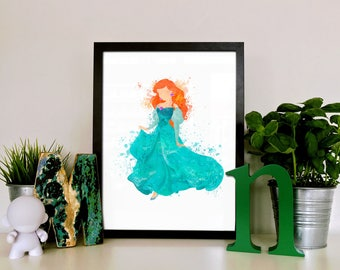 Ariel Mermaid Illustration Watercolor Art Poster Print - Wall Decor - Painting - Home Decor - Kids Decor - Nursery Art - Disney Princess