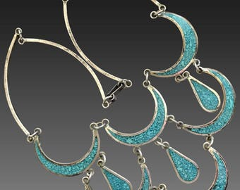 Unique Vintage Alpaca Silver Blue Turquoise Enamelled Choker Necklace