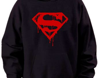 Superman Bloody Logo Hoodie Mens Sizes S M L Xl Xxl Xxxl 4xl 5xl
