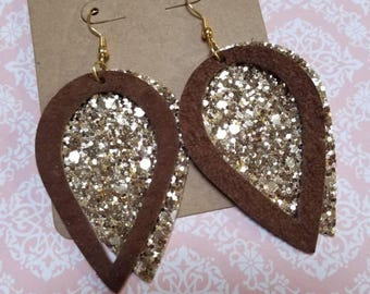 Brown Suede with Gold Glitter