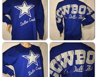 ON SALE Cowboys Pom Pom Jersey | Dallas Cowboys Game Day jersey | Cowboys glitter jersey | Oversized print | Bling
