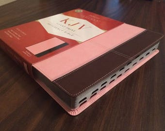 PERSONALIZED ** KJV Giant Print Reference Bible Indexed - Pink / Brown Leathertouch ** Custom Imprinted