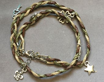 Braided leather cord double wrap charm bracelet