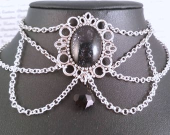 Handpainted black white speckle stone and silver chain choker necklace gothic victorian