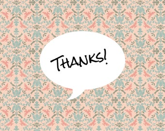 """Individual 140mm Square Blank Thank You Card  """"Thanks!"""" Add own message By Crannycards"""