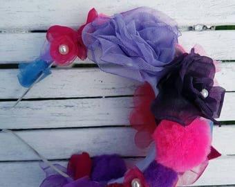 Handmade organza and pompom headband/pink purple fabric flowers