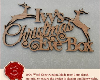 Personalised Reindeer 'Christmas Eve Box' Wooden Plaque, Sign. Christmas Treats, Childrens Gift, wooden Box Craft, Homemade Xmas Box Craft.