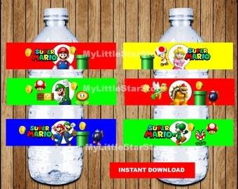 Mario Bros bottle labels, Printable Mario Bros water bottle labels, Super Mario Bros party water labels Instant download