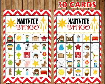 Christmas Nativity Bingo 30 Cards, Printable Nativity Bingo cards, Game for Christmas Party Instant download