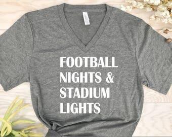 football nights and stadium lights, football shirts, game day shirts, sports shirts, team shirts, football mom, mom team shirts, mom shirts