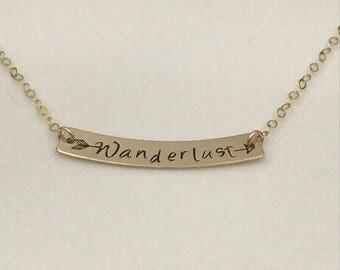 Arrow Wanderlust Bar Necklace, Gold Rose Gold Wanderlust Necklace, Broken Arrow Necklace, Gift for Her, Graduation Gift, Gift for Traveler