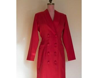 1980s Red Tuxedo Dress