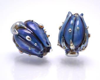 Lampwork flower bead, Blue Handmade beads, Artisan Lampwork, Floral Lampwork, Glass Lampwork, Blue Silver Space Lampwork Flower Bud Beads