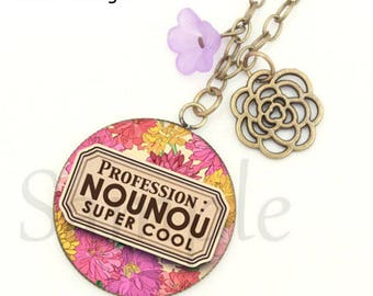Gift for nanny Super Cool necklace! 3 cm yellow purple pink flowers romantic glass cabochon