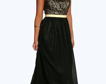 Metallic Trim and Lace Detail Maxi Dress - Sleeveless Maxi Dress
