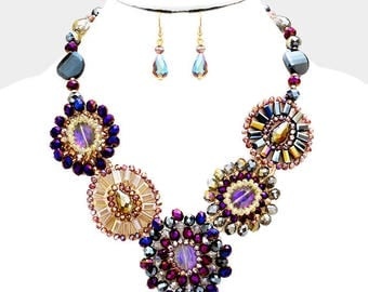 Multi Color Glass Beaded Statement Necklace