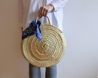 Maria Rita- Small Market Basket-Round Basket- Palm Leaf-Handmade-Grocery Basket-Palm Leaf Tote bag- Handmade Bag-La Petite Sardine