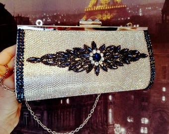 Navy and silver evening clutch purse. Wedding clutches Bling purse. Evening clutches