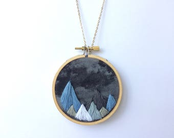 Smokey Mountains Embroidery Hoop Necklace