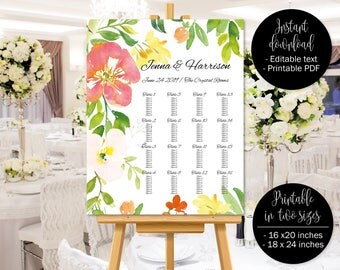 Floral Watercolor Wedding Seating Plan Chart Template, Wedding Seating Chart Printable, Wedding Table Plan Seating Chart, Border 8 SEATING-8