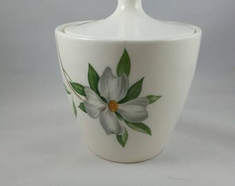 Dogwood ceramic sugar bowl with lid. Made in Japan.
